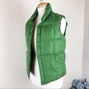 LANDS END Goose Down Vest, Green Size  10-12